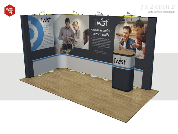 Twist - Floor space 4m x 2m open on two sides (including counter) - Rounded Edge Store