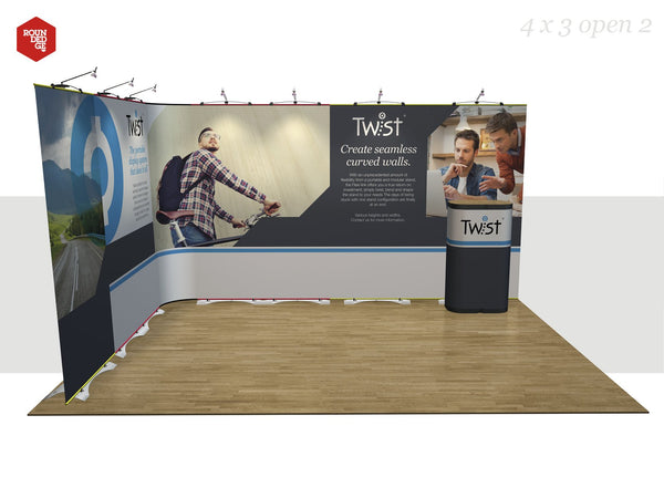 Twist - Floor space 4m x 3m open on two sides (including counter) - Rounded Edge Store