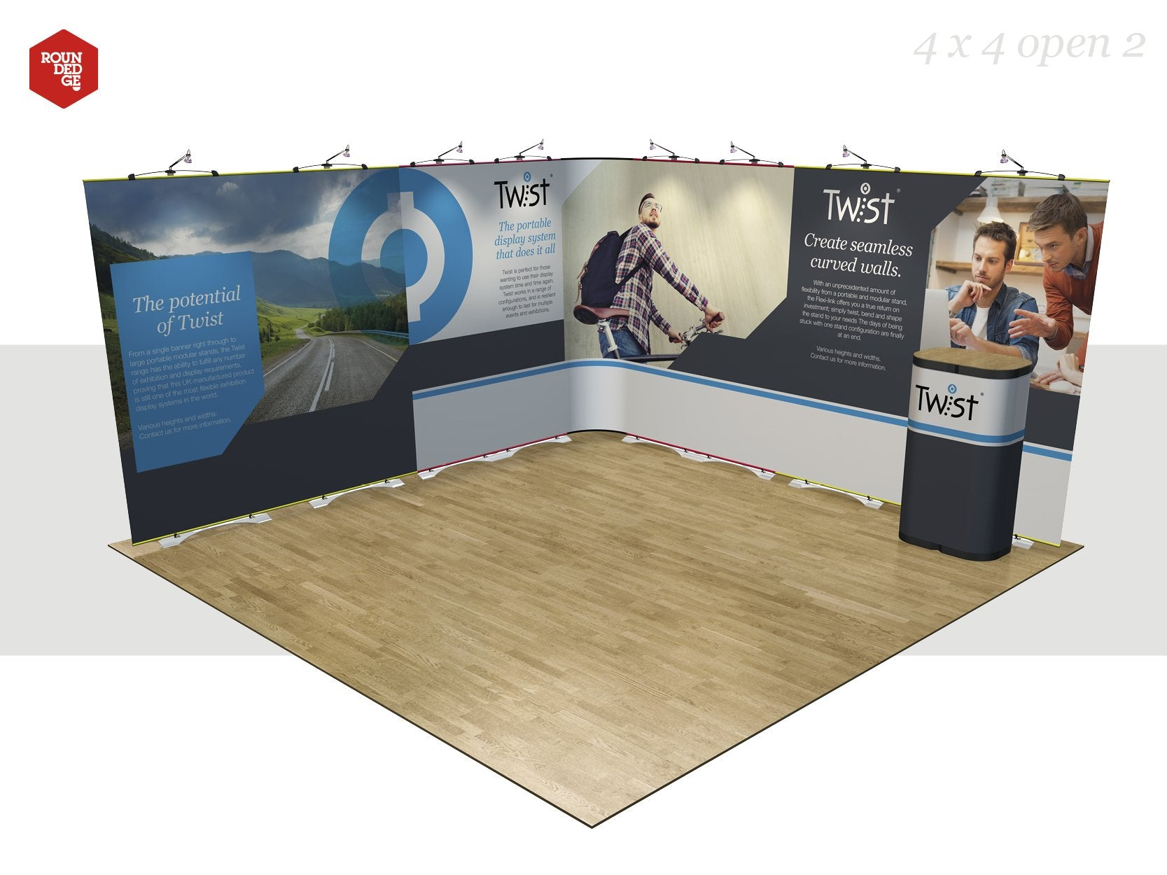 Twist - Floor space 4m x 4m open on two sides (including counter) - Rounded Edge Store