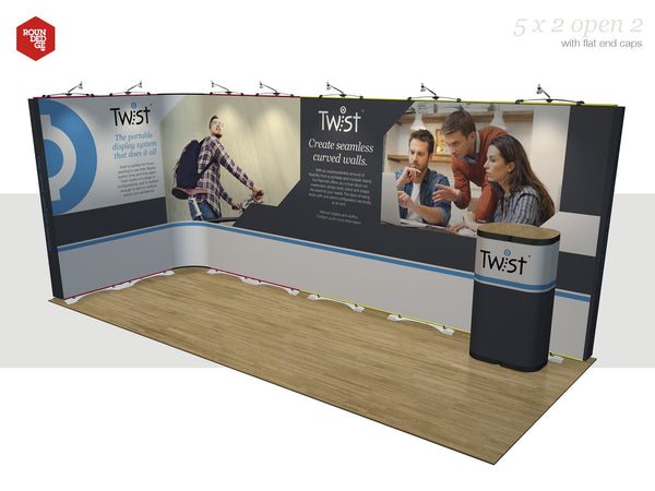 Twist - Floor space 5m x 2m open on two sides (including counter) - Rounded Edge Store