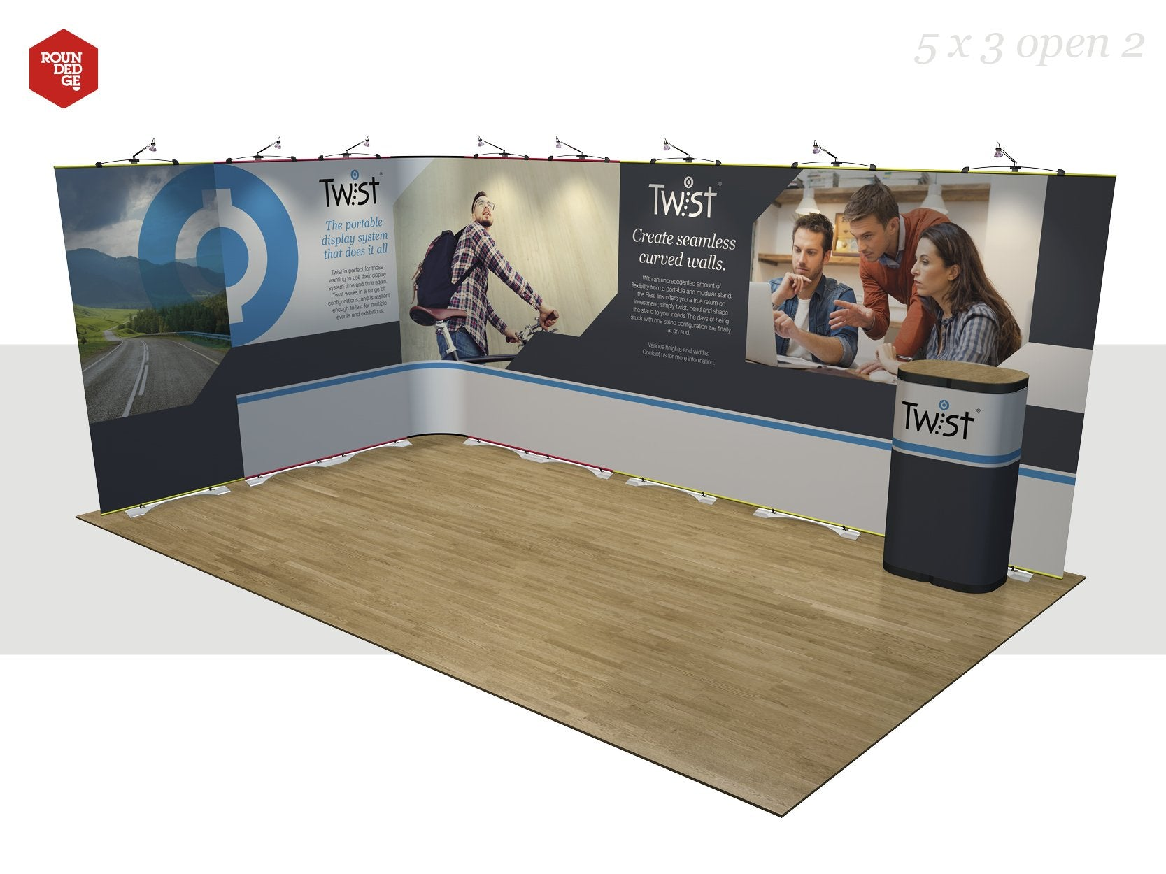Twist - Floor space 5m x 3m open on two sides (including counter) - Rounded Edge Store
