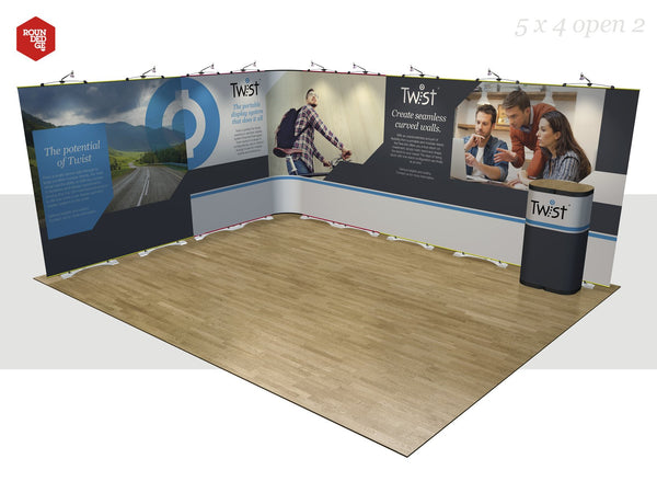 Twist - Floor space 5m x 4m open on two sides (including counter) - Rounded Edge Store