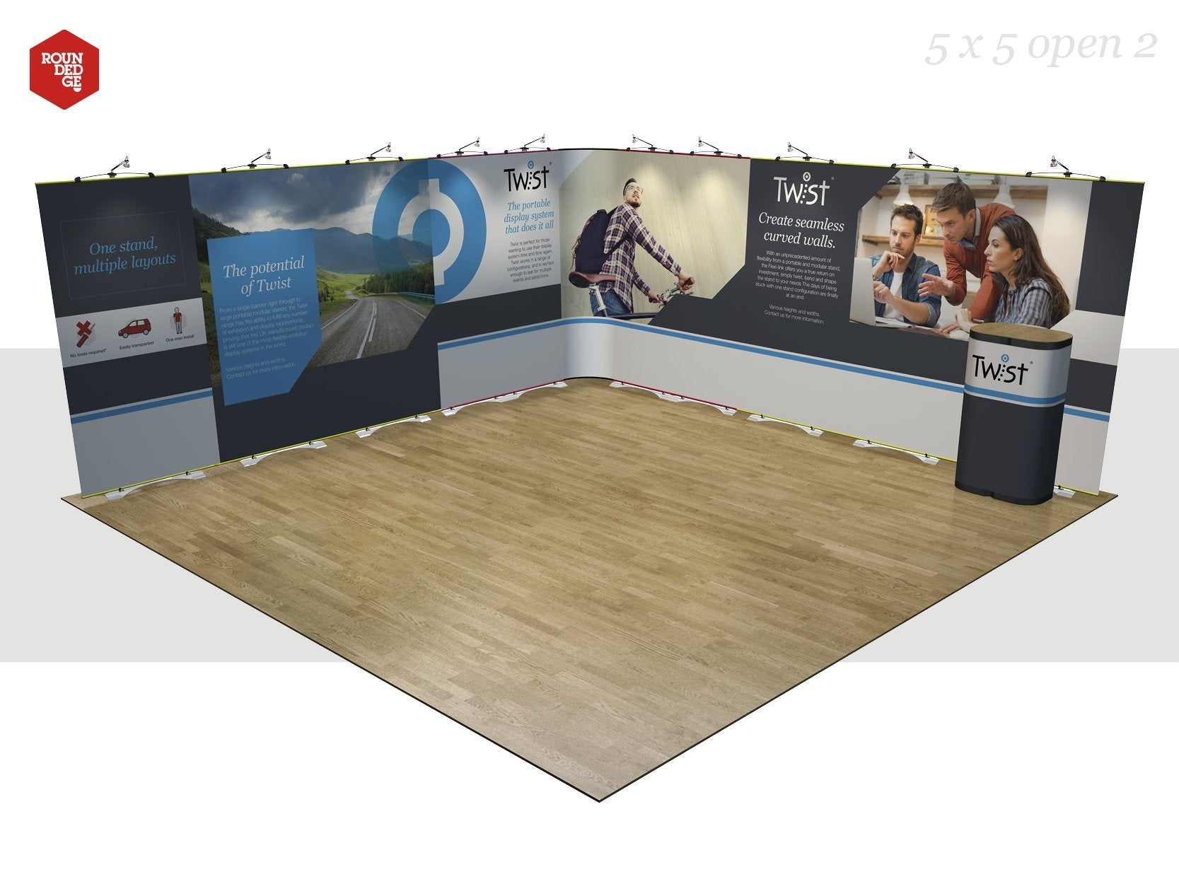Twist - Floor space 5m x 5m open on two sides (including counter) - Rounded Edge Store