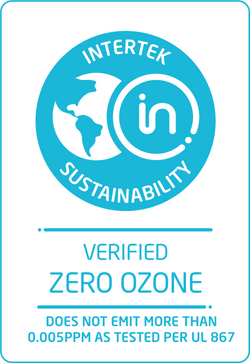 MinusA2 air purifier was verified Zero Ozone by Intertek, it does not emit more than 0.005ppm as tested per UL 867