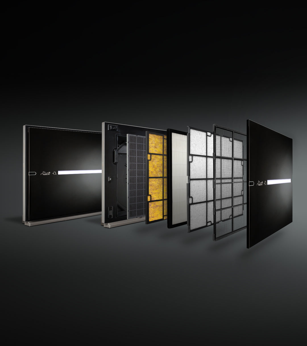 Exploded view of MinusA2, showcasing the front panel and its five filters