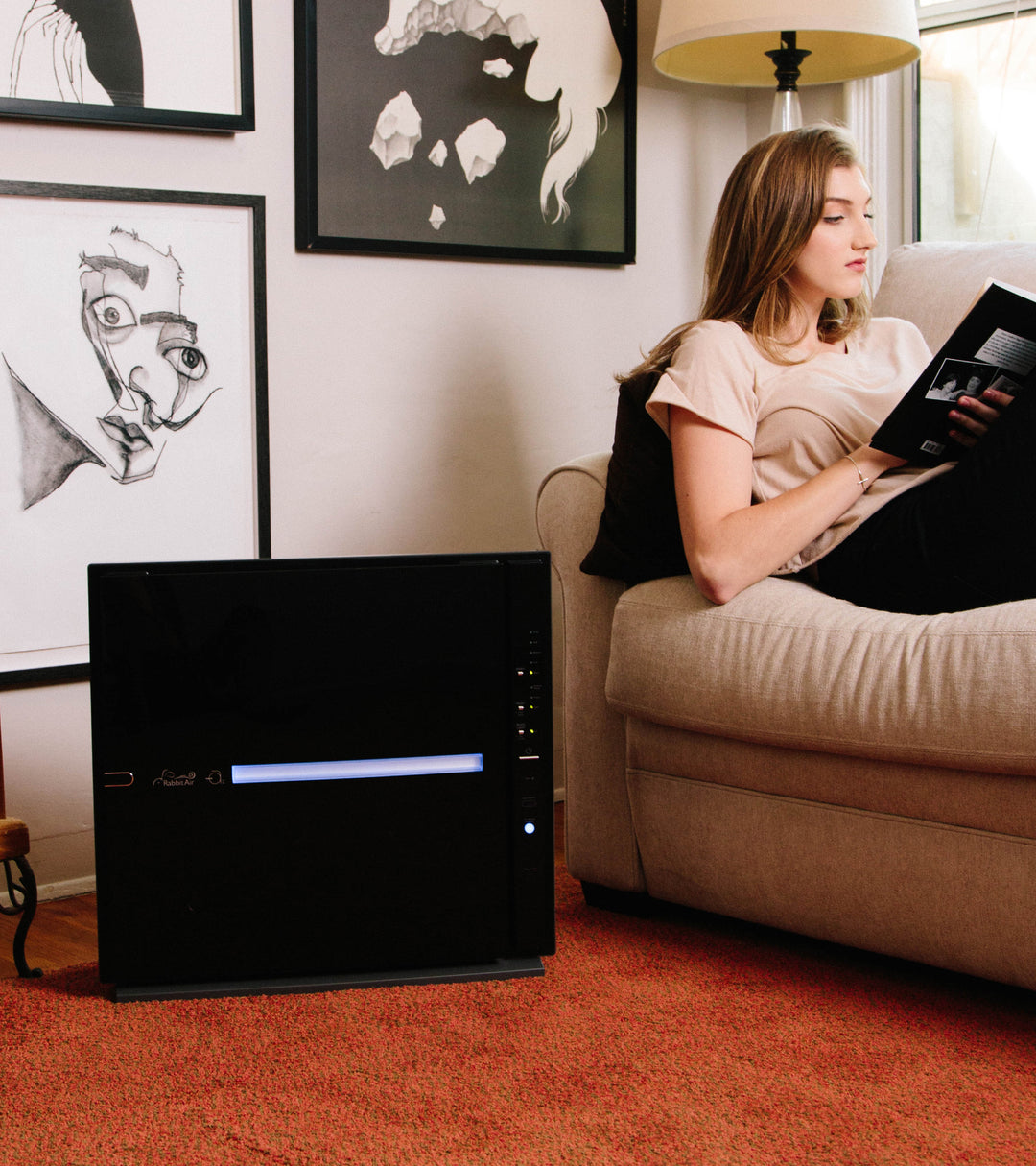 Black MinusA2 air purifier sitting by the couch