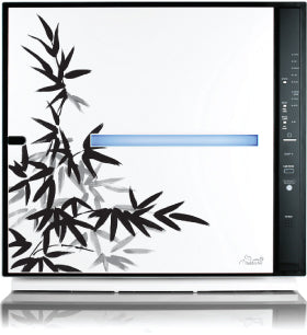 MinusA2 air purifier with bamboo leaves design, in black and white