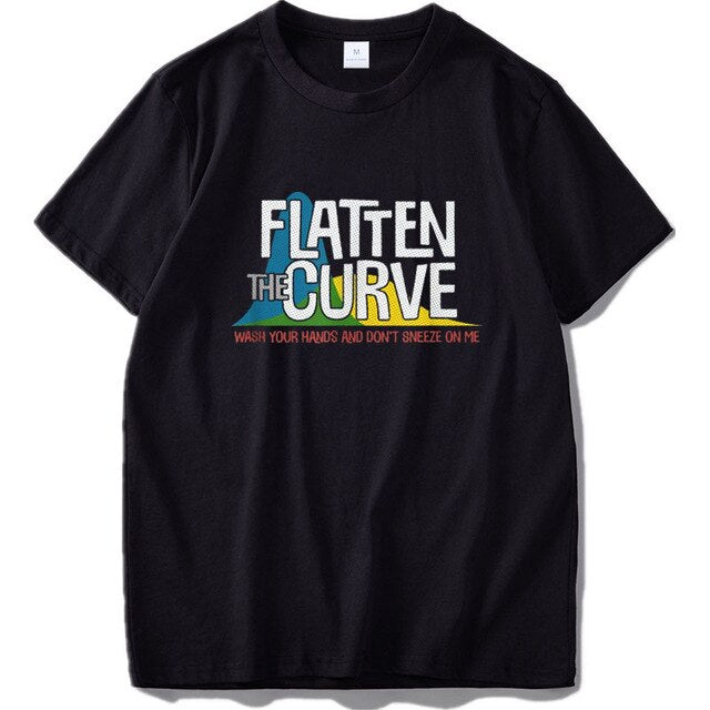 Flatten The Curve T Shirt Public Health Virus Wash Your Hands Geek Tshirt 100% Cotton EU Size Breathable Basic Tee Tops