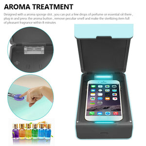 Poratable UV Sterilizer for Mask, Cellphone, jewlery and more.  Includes USB charger for phone and Aromatherapy for masks.