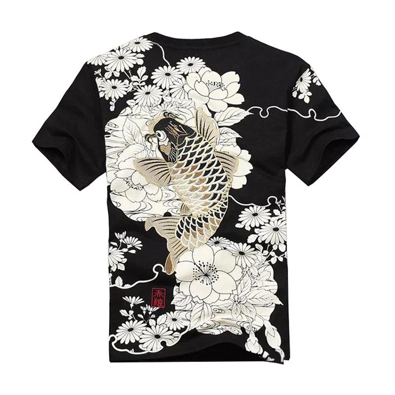2019 New Arrival Hip Hop Knitted Tshirt Homme Hot Sale T Shirt Men Goods Embroidery With Short Carp Tattoo O-neck Cotton Casual