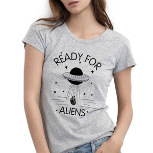 Alien T Shirt Funny Women Summer Novelty Print O-Neck Short Sleeve Tops Tee Female 100% Cotton Girls UFO Tshirt
