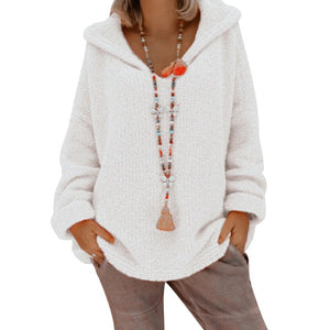 Casual Women Autumn Hooded Knitwear