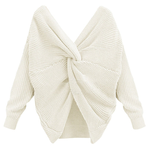 Women Sexy Open Back Sweater