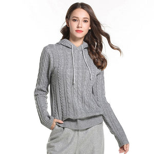 Knitted Women's Hooded Sweater