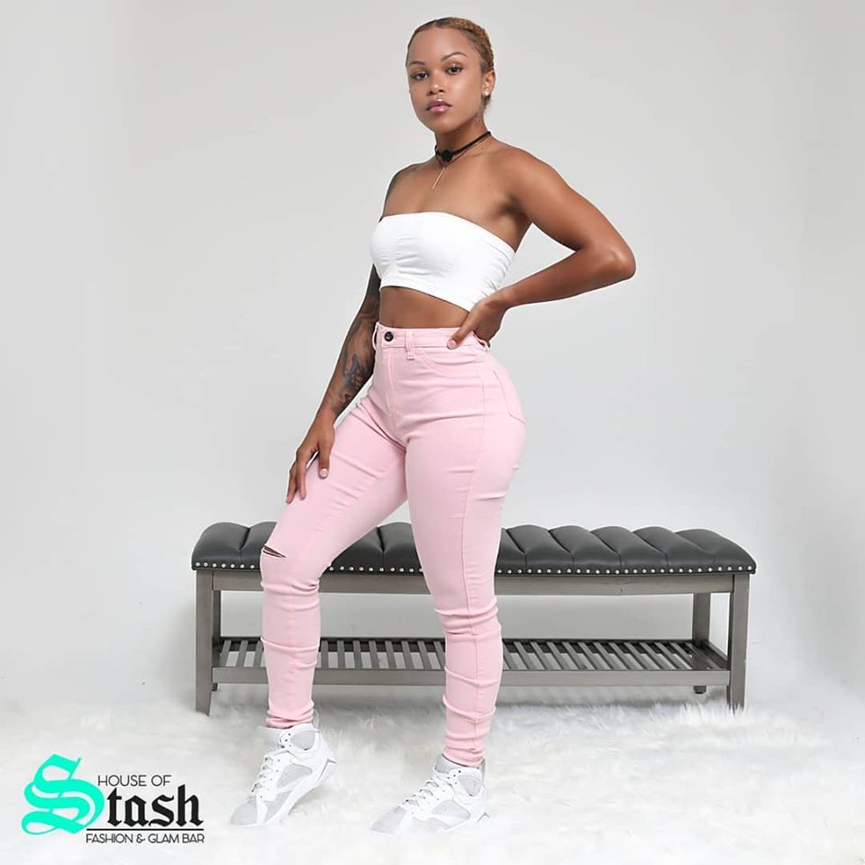Pink High Waist  Stretch Jeans