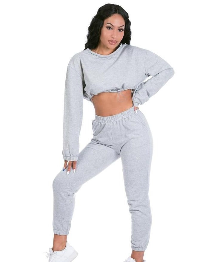 Grey Cropped Jogger Set