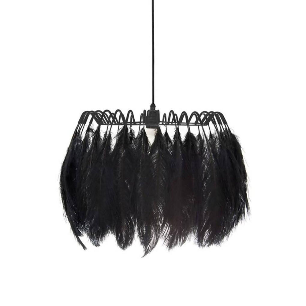 All Black Feather Pendant Lamp