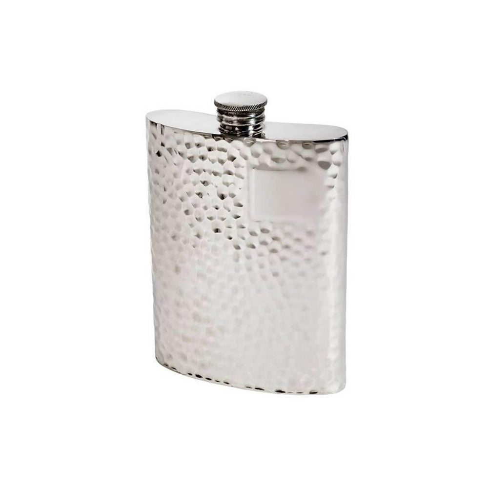 6oz Hammered Pewter Kidney Hip Flask