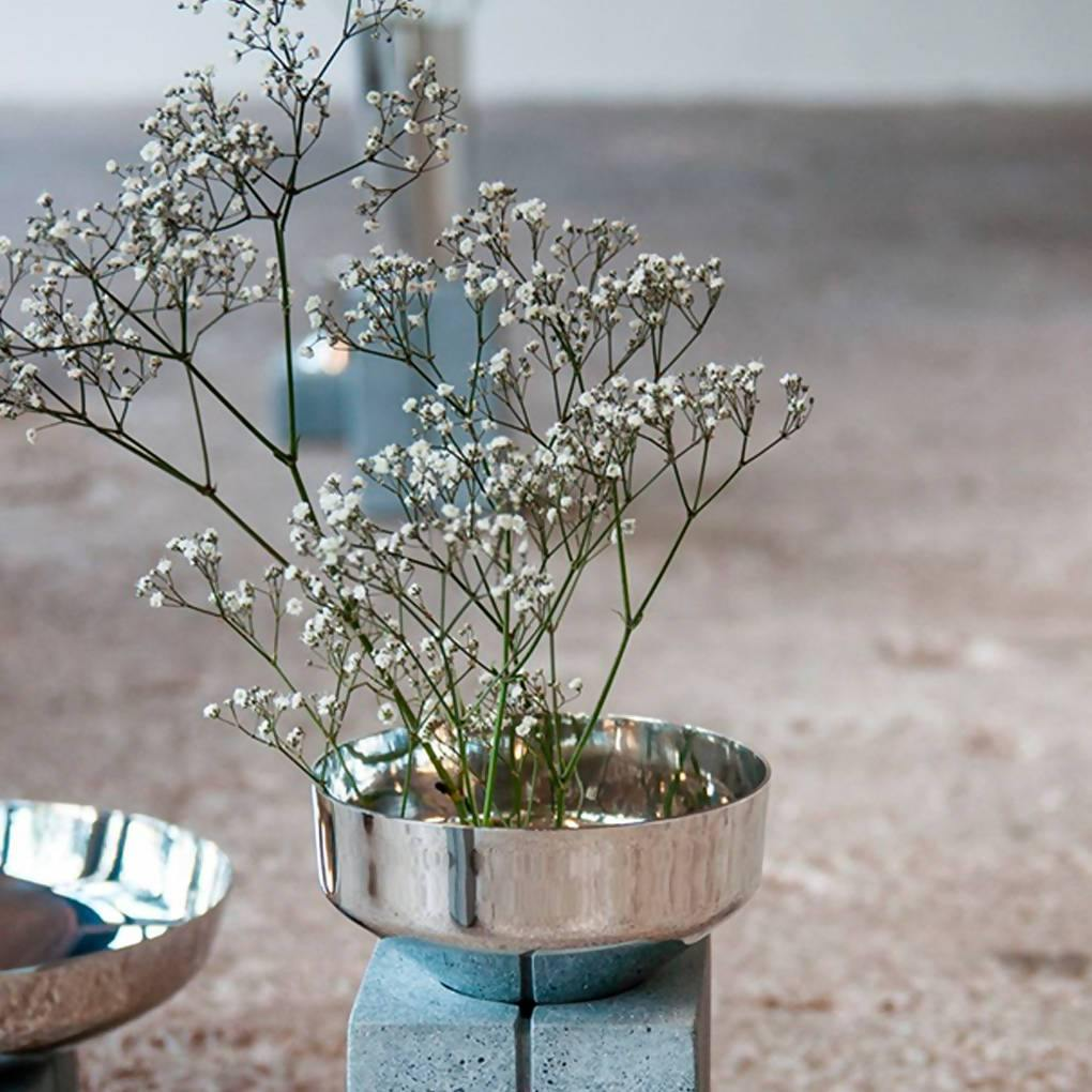 Topian Pewter and Concrete Vase
