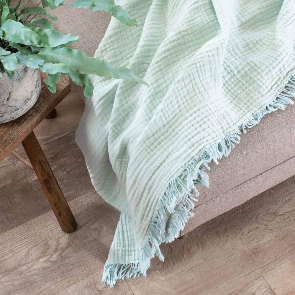 Lagoon Crinkle Cotton Throw - Large