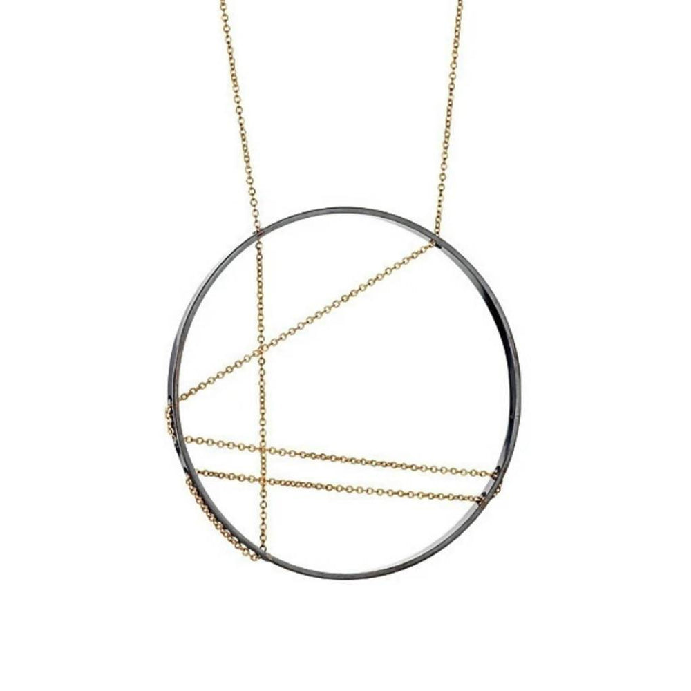 Mondrian Necklace in Oxidized Silver and Gold - Aztro Marketplace