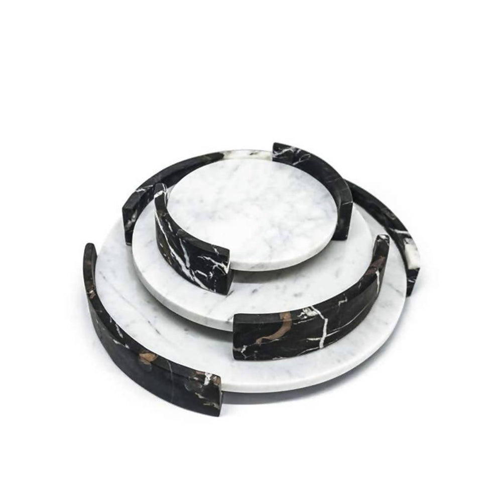 Small Circular Triptych Tray in White Marble - Aztro Marketplace