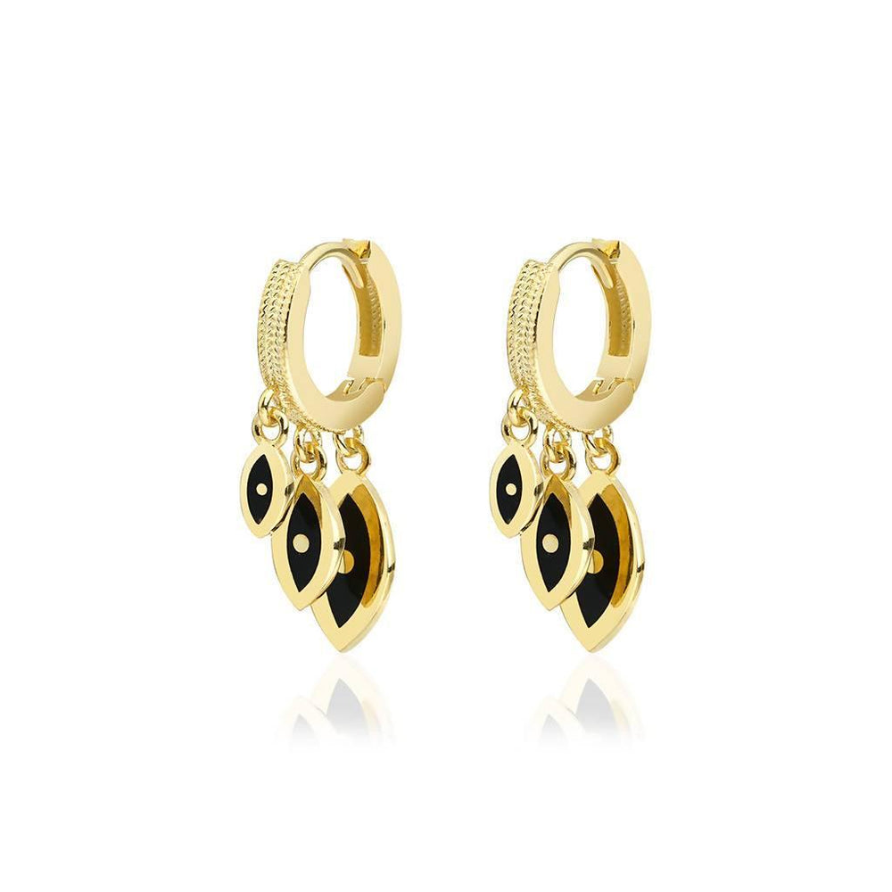 Triple Eye Earrings Gold