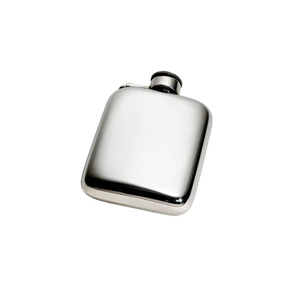 4oz Plain Pewter Pocket Flask with Captive Top