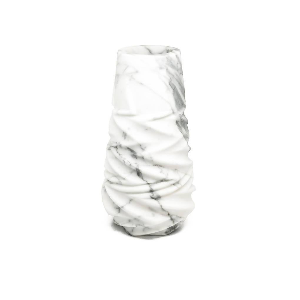 Rock Vase in Arabescato Marble