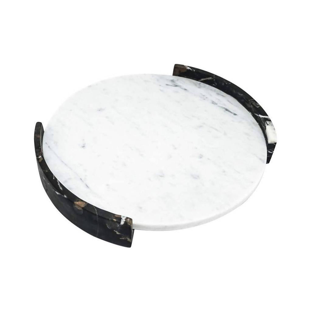 Big Circular Triptych Tray in White Marble
