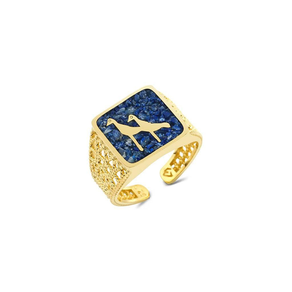 Lapis Crane Filigree Ring