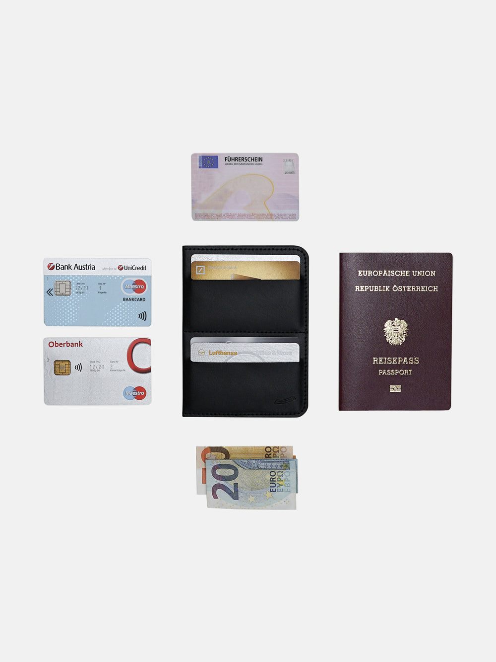 avant italian black leather passport wallet contents