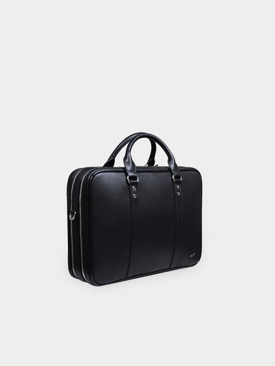 F26 Black Leather Double Briefcase