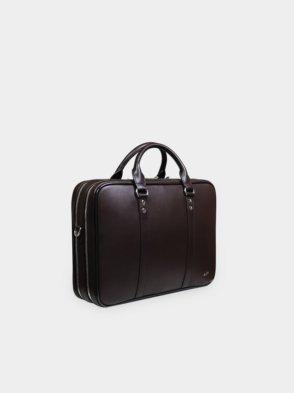 f26 brown leather double briefcase