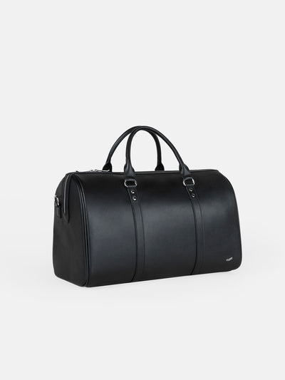 F34 Travel Duffel Bag Italian Black Leather Schwarzes Leder