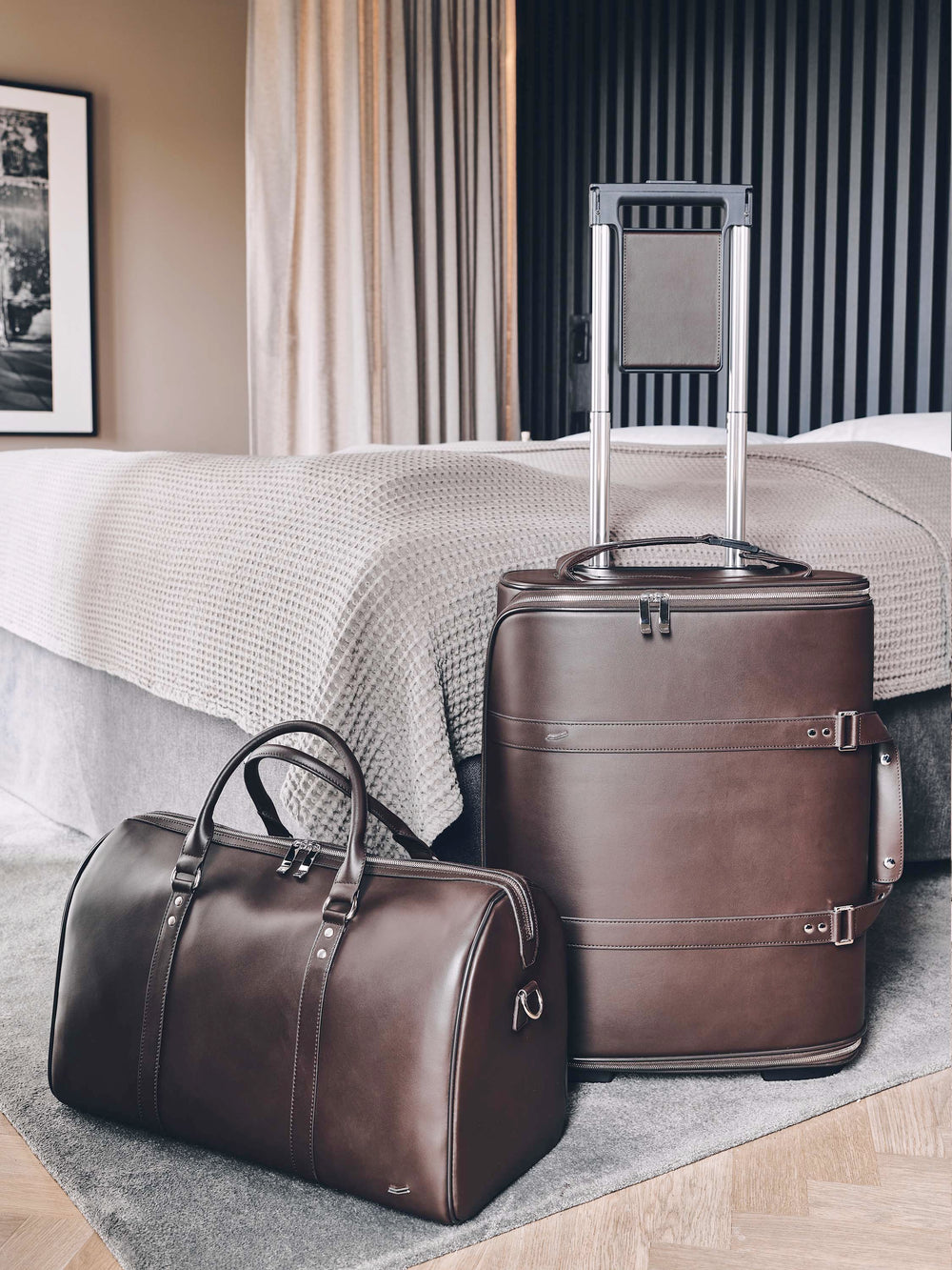 vocier f34 travel duffle set in brown leather