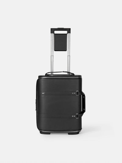 F38 Carry on Luggage for Business in Black Leather Schwarzes Leder