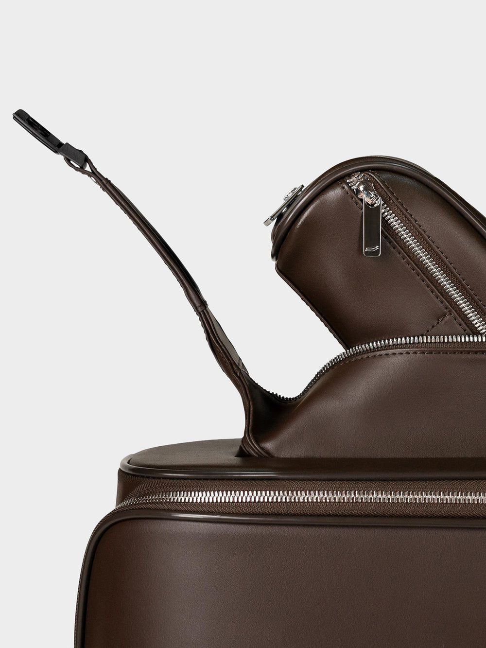 f38 carry on luggage with toiletries pocket in brown leather braunes leder
