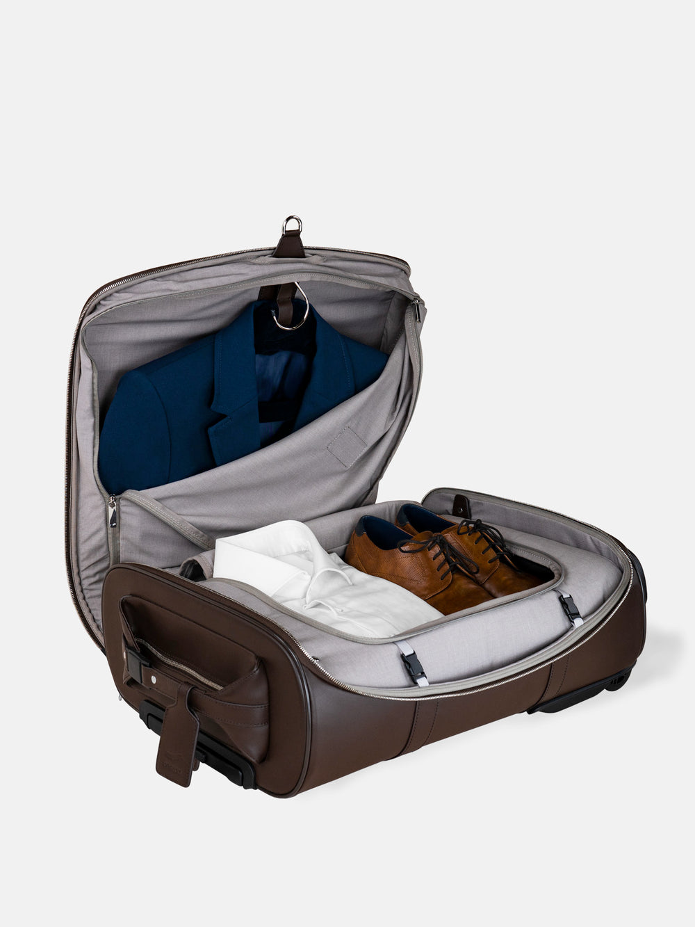 f38 carry on luggage with suit compartment in brown leather braunes leder