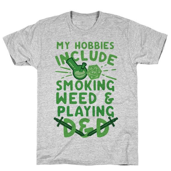 My Hobbies Include Smoking Weed And Playing D&D Athletic Gray Unisex Cotton Tee by LookHUMAN