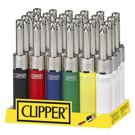Clipper Lighter Mini Tube 6 Color Chrome Top Utility Lighter (24 Count Display)