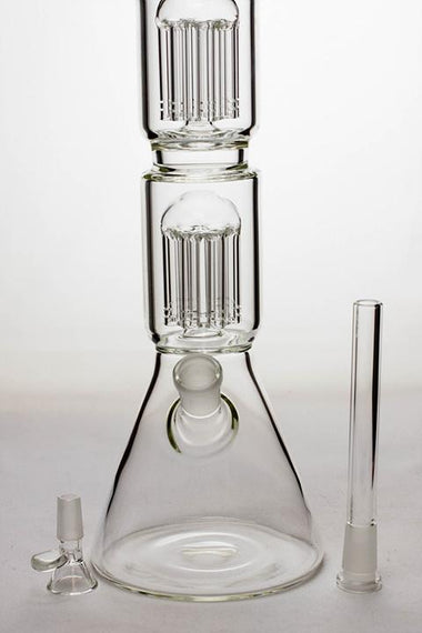"20"" Infyniti 7 mm thickness Dual 8-arm glass water bong"