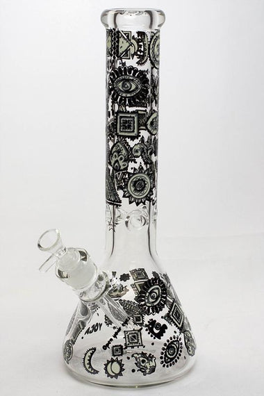 "13.5"" Glow in the dark 9 mm glass water bong - 19085"
