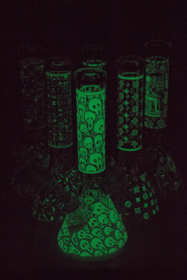 "14"" Glow in the dark 7 mm glass water bong"