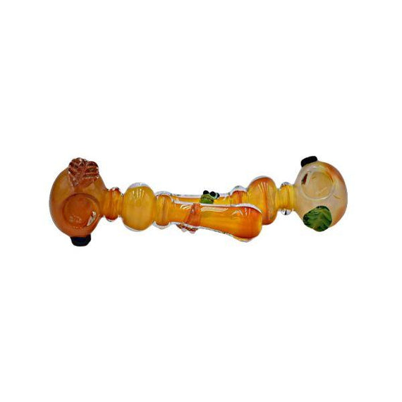 "4"" Yellow Fume Ball Rim Leaf Hand Pipe - (1 Count)"