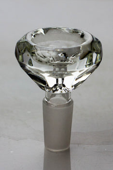 Diamond cutting shape wide glass bowl