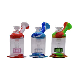 "4.5"" Silicone Mini Perc Water Pipe With Bowl - Colors May Vary -  (1 Count)"