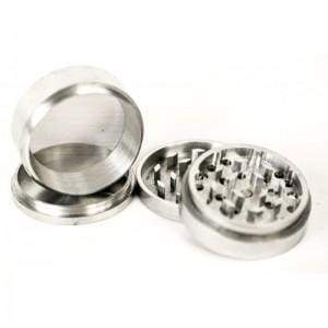Large Herb Grinder Aluminum Silver 4 Part 63mm