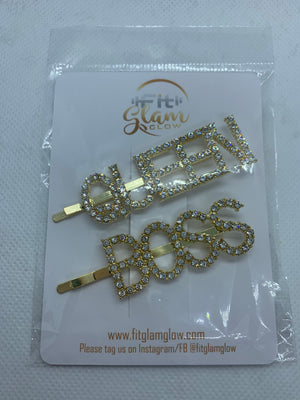 Shiny Crystal Letter Hair Clip - Fit Glam Glow