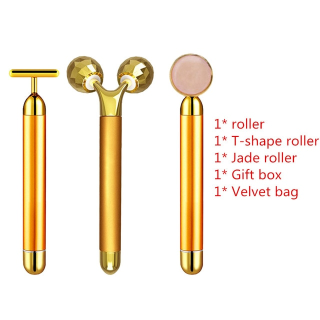 24k Gold Beauty Bar Set Vibration Facial Massager - Fit Glam Glow